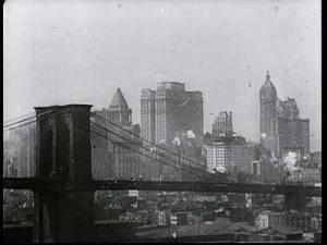 Skyline of '20s New York City including the Brooklyn Bridge