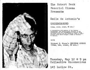 Poster promoting a screening of Underground documentary by Emile De Antonio