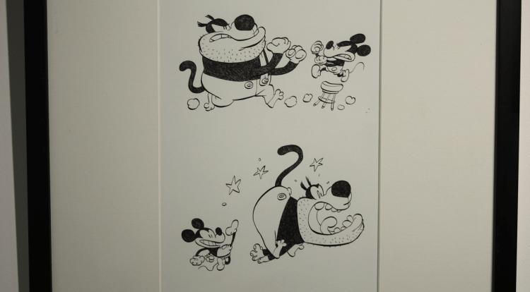 Planche d'un combat de Mickey dessinée par Tébo