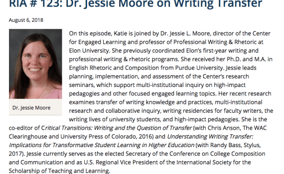 Screenshot: Research in Action Podcast #123: Dr. Jessie Moore on Writing Transfer