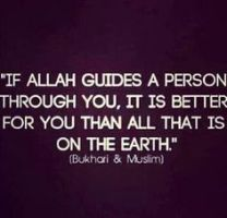If Allah guides a person through you it is better than all that on Earth