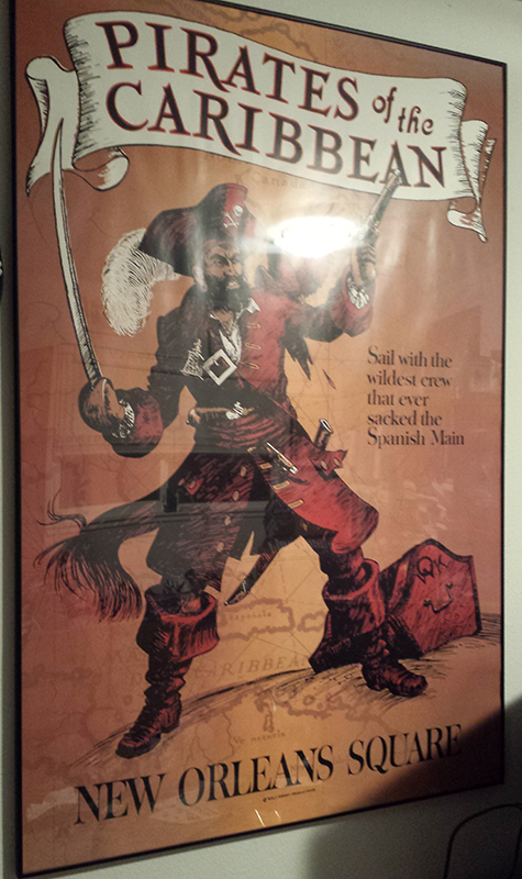 Pirates of the Caribbean ride poster from Disneyland
