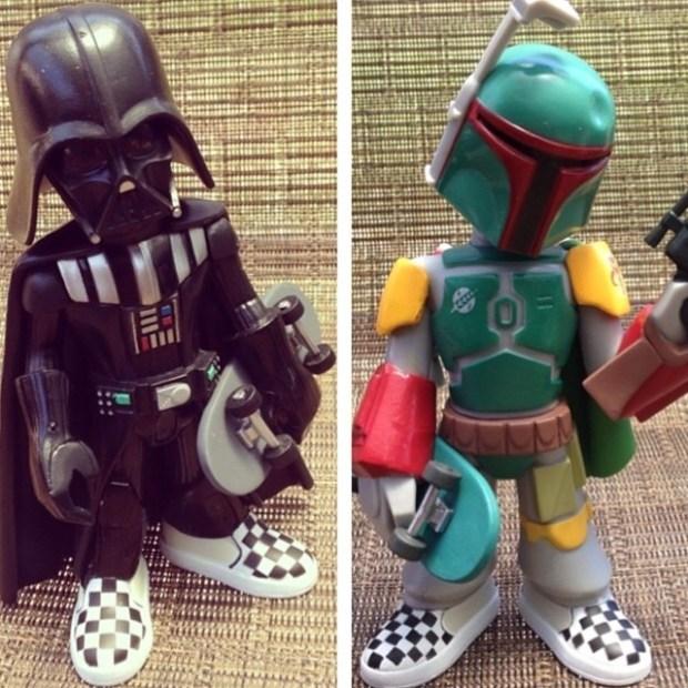 via IG! Vans x Star Wars x Funko vinyl figures of Darth Vader & Boba Fett rocking checkerboard Slip-Ons.  #underthepalms