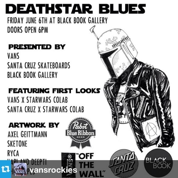 via IG! #Repost from @vansrockies --- JUNE 6th at @blackbookgallery in Denver come check the #starwars inspired artwork of the incredibly talented Axel Geittmann ( @leadpaintpopsicles ) and others! ALSO, get a glimpse of the #vansxstarwars shoes and apparel as well as the #santacruzxstarwars decks!!! Gonna be insane!!!!! #vansrockies #vans #starwars #art