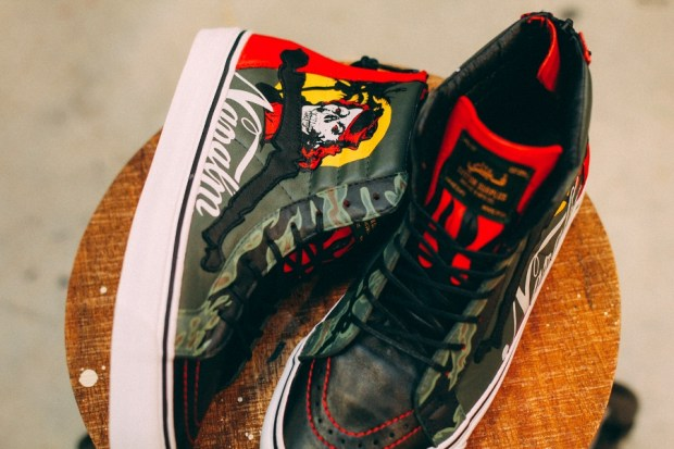 "5b6d213485 Check out this elaborate custom painted Blends x Vans Vault ""Chili Pepper""  Sk8-Hi Reissue Zip LX"
