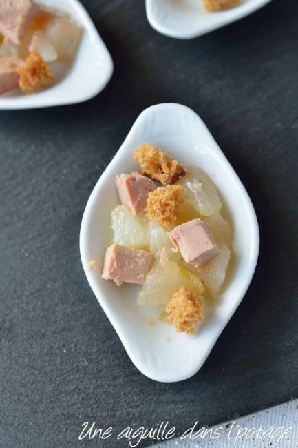 Verrine apéritive foie gras poire pain épices facile