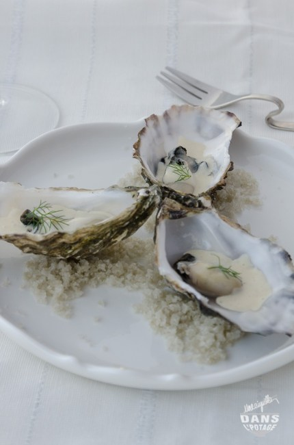 poached oyster with smoked milk froth