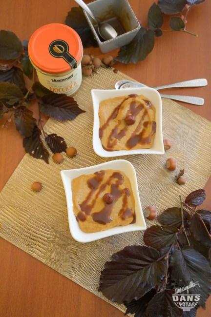 semoule au lait et purée de noisette, coulis chocolat pralinoise