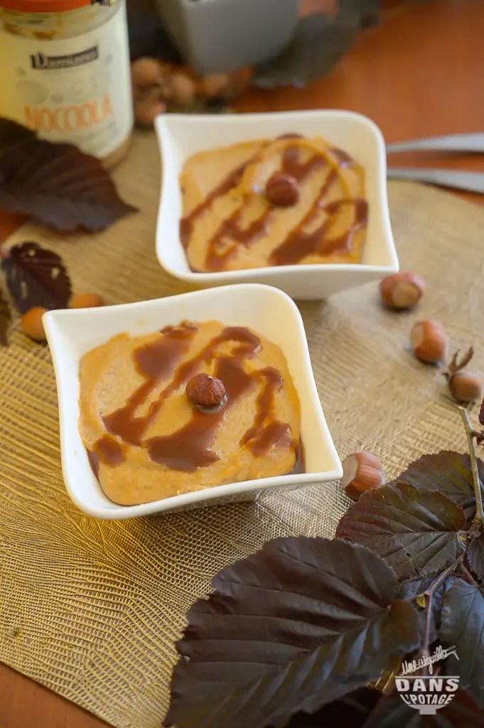 dessert semoule au lait et purée de noisettes