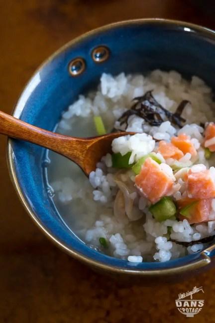 riz dashi saumon paloudes légumes wasabi