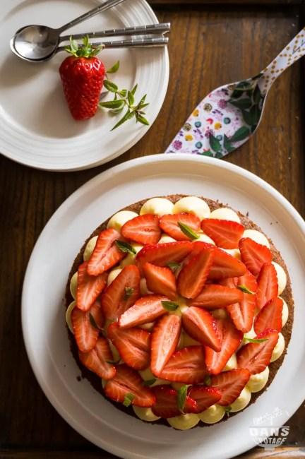 sablé breton sarrasin crème verveine fraises