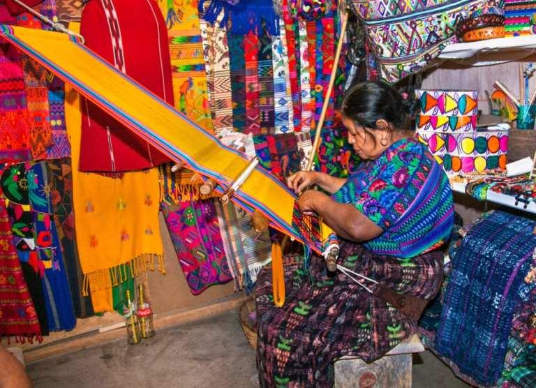 Mayan woman weaving with strap loom in Antigua, Guatemala   © Aleksandar Todorovic/Shutterstock