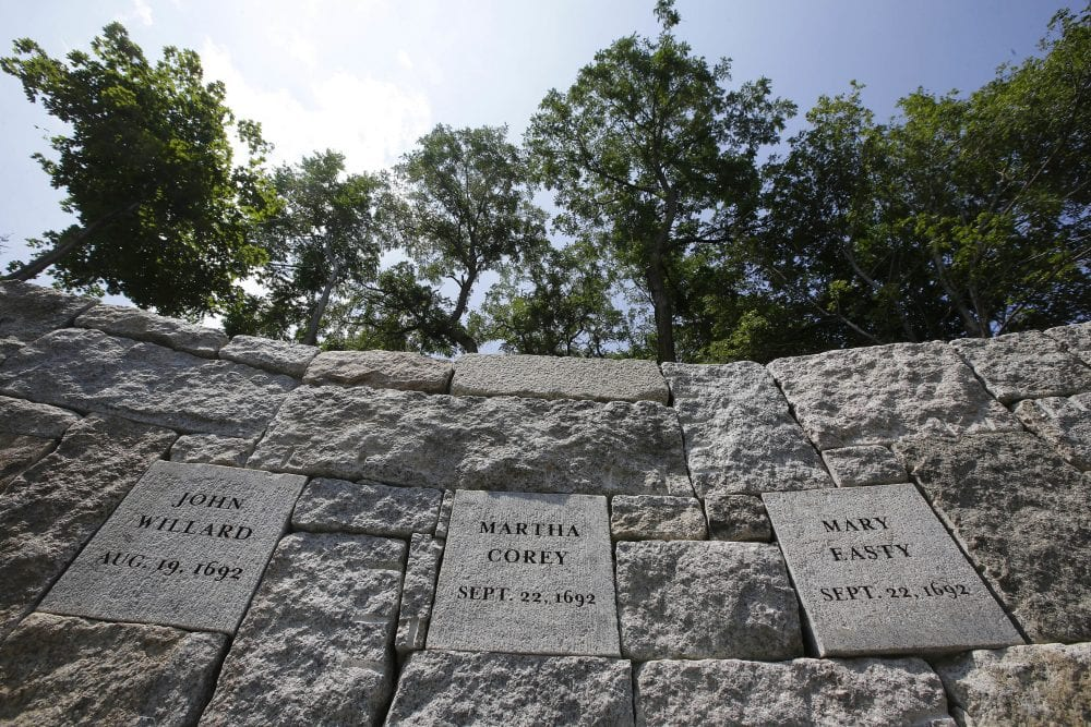 Stone memorial to the 19 victims of the 1692 Salem Witch Trials | ©WBUR/Andrea Shea