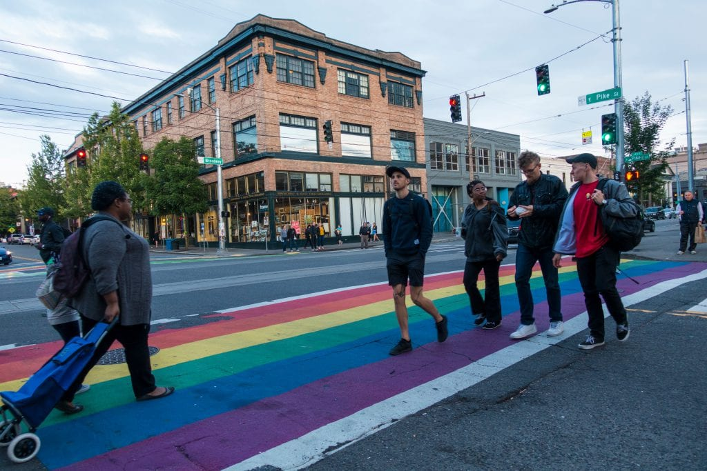 Rainbow crosswalks in Seattle's Capitol Hill lead to woman-founded Wild Rose © | Flickr
