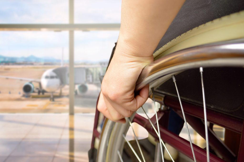 "Zayid, who uses a wheelchair in the airport, added, ""People think the wheelchair makes it faster, but it actually takes longer to get through security."" © 