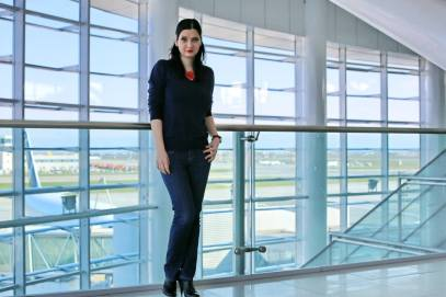 Woman in airport casual outfit