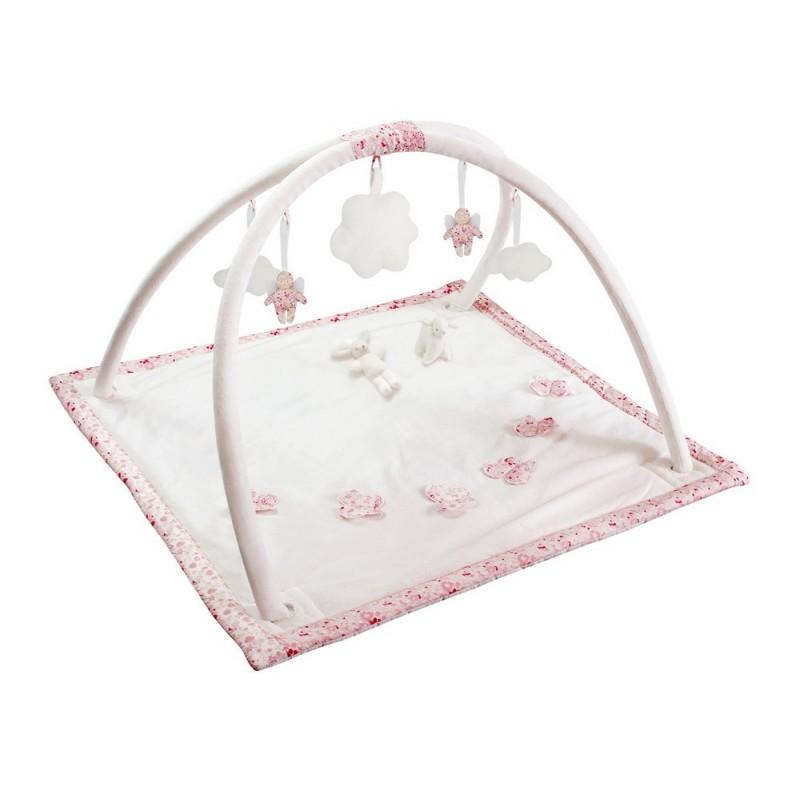 tapis d eveil musical carre fleurs roses mouton lapin trousselier