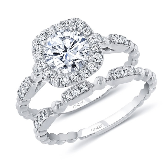 Uneek Round Diamond Halo Engagement Ring And Matching