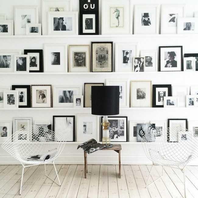 Un mur de cadres 20 id es d co pour accrocher ses cadres - Accrochage tableaux au mur ...