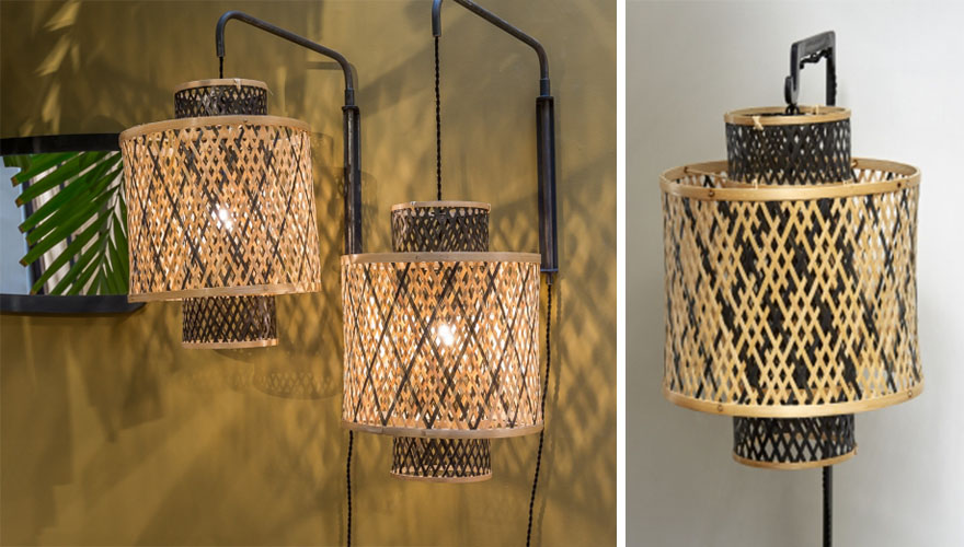 lampe tressee osier rotin bambou 3