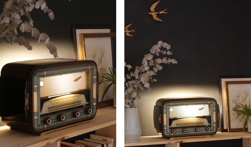 diy transformez une radio vintage en lampe d 39 ambiance. Black Bedroom Furniture Sets. Home Design Ideas