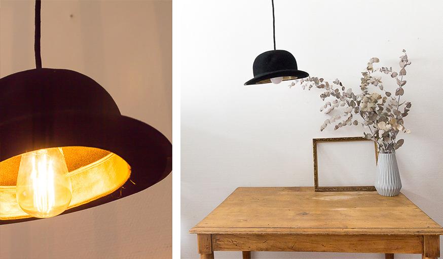 diy : transformez un chapeau en lampe | une hirondelle dans les tiroirs
