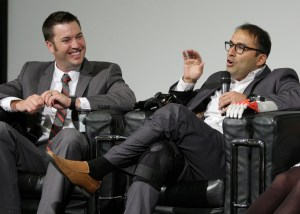 Panelists R. Gabe Linke (left) of Omaha's Children's Hospital and Medical Center and Jorge Zuniga (right) of UNO during the 3D-printing discussion Tuesday in the DRC auditorium.