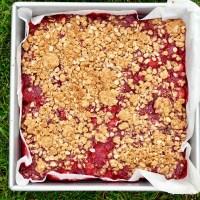 Carrés aux fraises et à la chapelure de biscuits graham