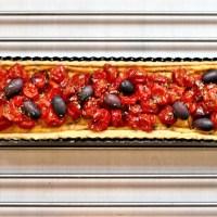Tarte salée aux tomates cerises confites