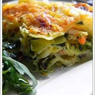 Lasagnes fondantes aux crevettes et aux épinards