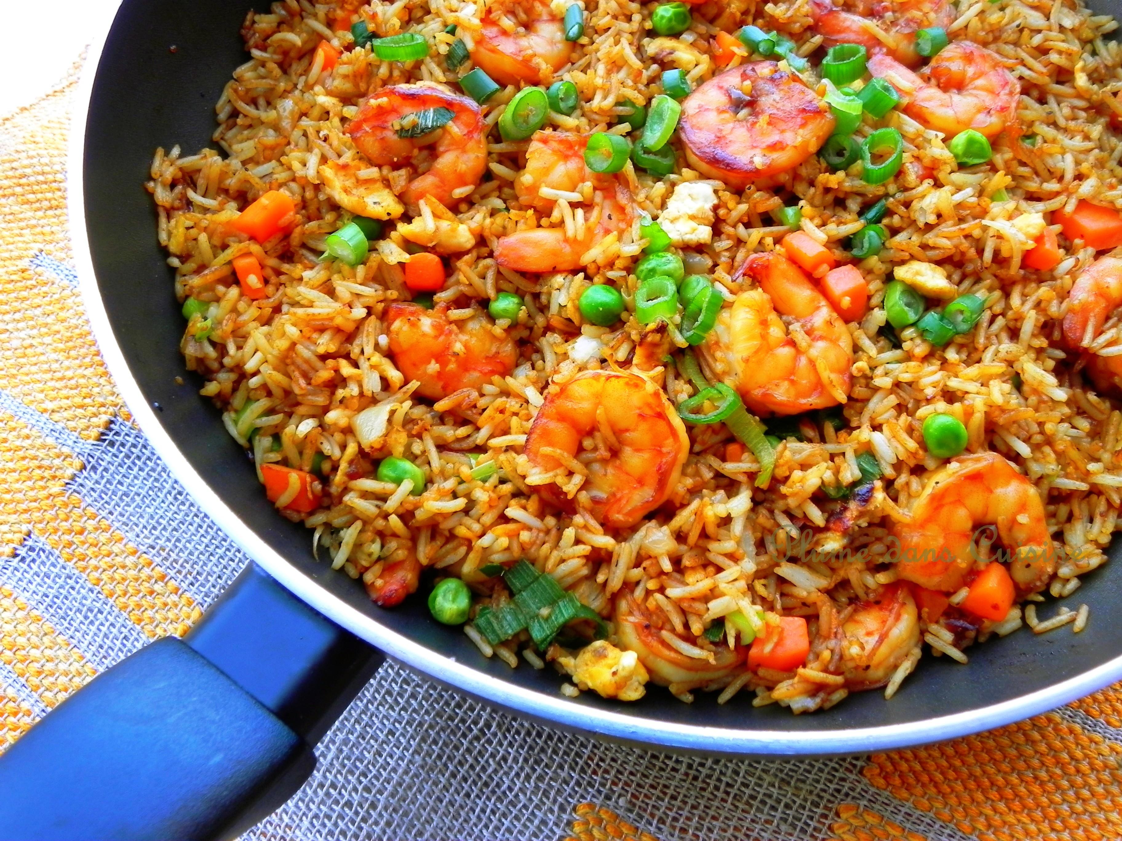 Riz saut aux crevettes une plume dans la cuisine for Aux beaux rivages la cuisine