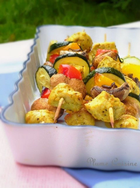 brochettes-poulet-curry-four
