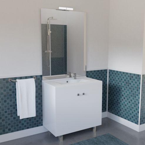 meuble salle de bain ecoline 80 simple vasque resine blanc brillant