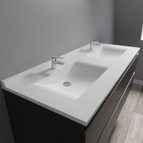 Plan Vasque Double En Resine De Salle De Bain