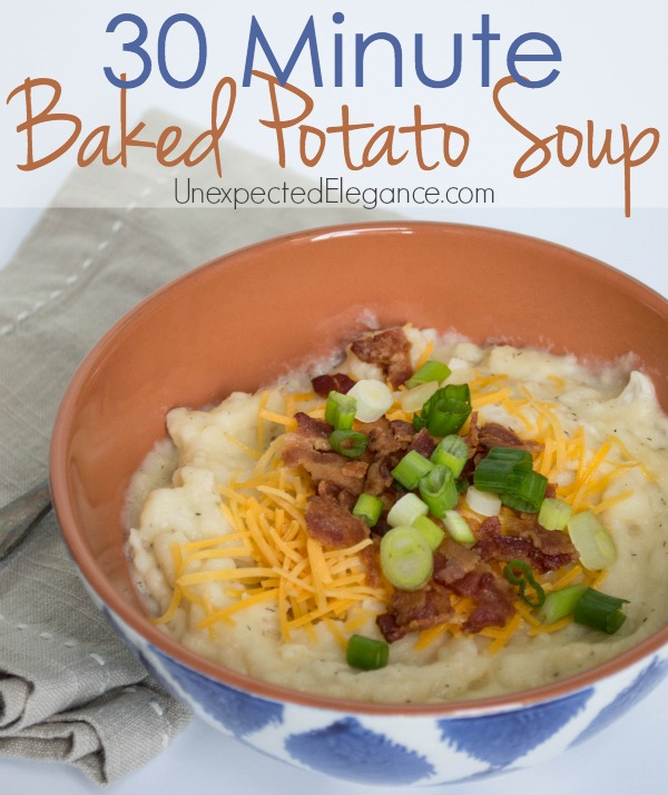 This is one of the best baked potato soup recipes I have ever had.  The greatest thing about this recipe is you can make it in 30 MINUTES!