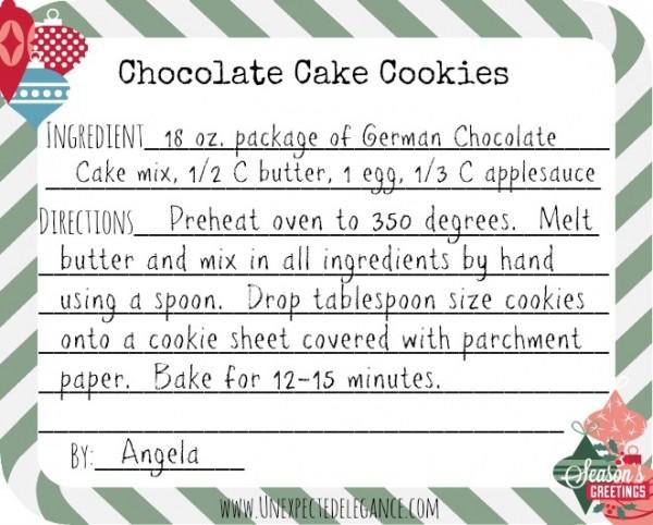 Chocolate Cake Cookie Recipe Card
