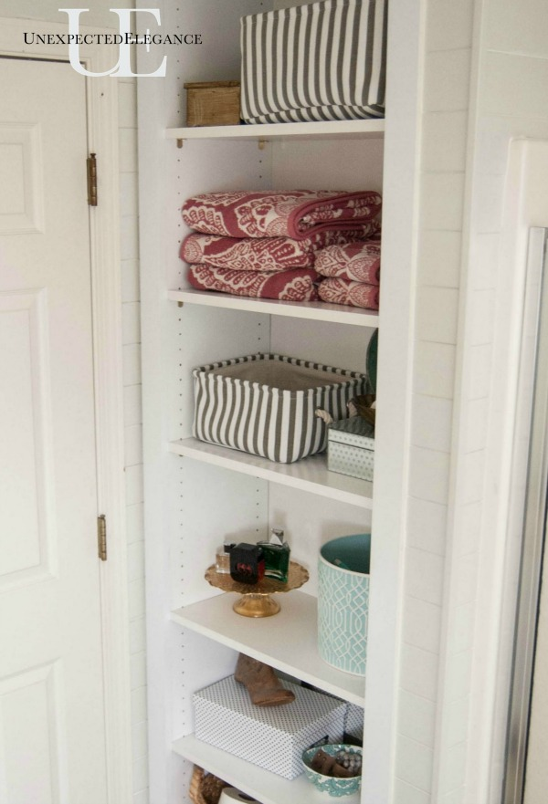 Diy Built In Shelving For My Bathroom Unexpected Elegance