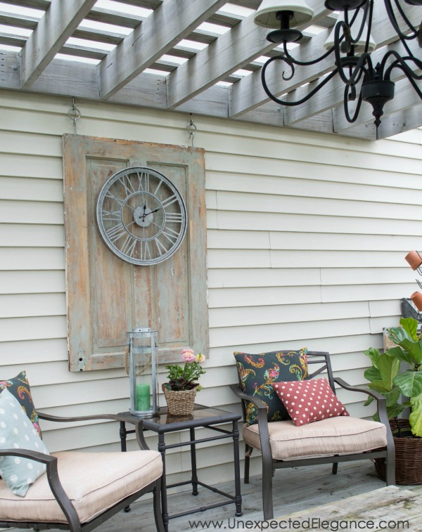 Easily add some interest to your outdoor space by using a removable panel.