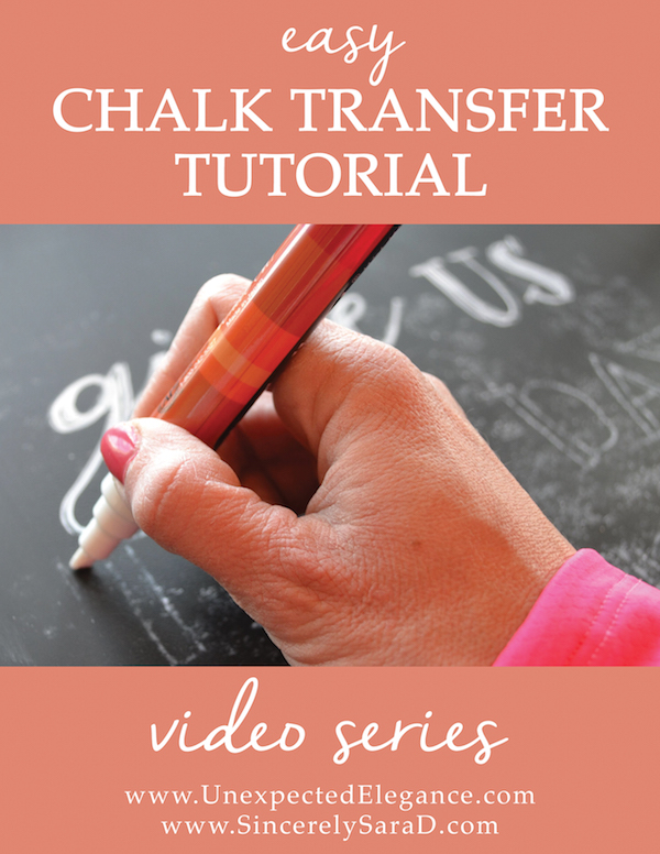 """Have you ever looked at a beautiful chalkboard and thought """"I wish I had handwriting like that!""""? Well, there is a little trick that makes designing your next chalkboard a snap!! Check out this quick and EASY video tutorial for transfer chalk."""