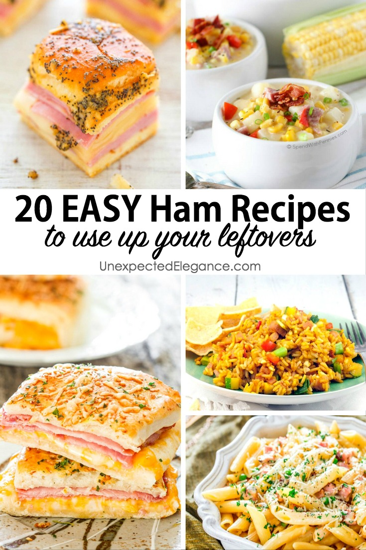 Leftover ham can be made into so many wonderful dishes. Whether you want to make a ham and cheese omelet for breakfast or a fun pasta dish, check out these easy ham recipes!
