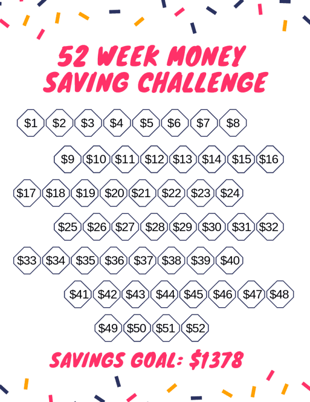 random 52 week money saving challenge