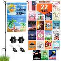 Seasonal Garden Flag (Set of 22) with Flag Pole Stand and Wind Clips