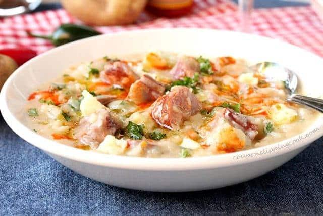 Cheesy Potato & Smoked Sausage Soup