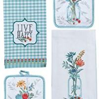 Spring Vase Kitchen Towels and Matching Potholders