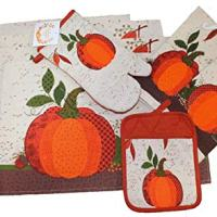 8 pc Fall Pumpkin Kitchen Decor Set (with placemats, towels, and potholders)