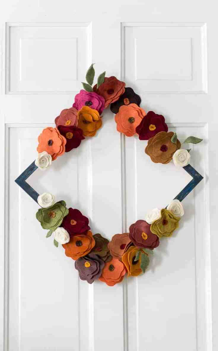 Felt Flower Wreath Tutorial for Fall (or any time of year)