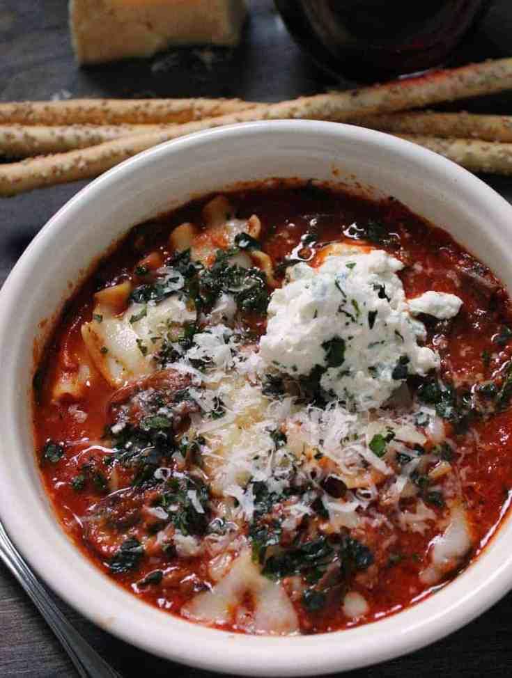Lasagna Soup Recipe with Mushrooms