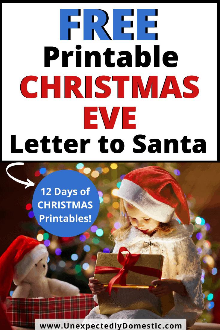 Blank Santa Letter Template Free Printable Christmas Eve Letter To Santa