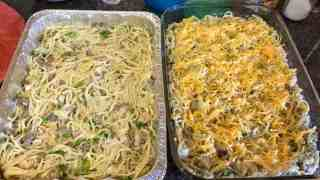 Baked Cheesy Beef White Spaghetti Casserole