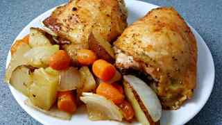 One Pan Roasted Chicken and Veggies